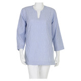 Blue Seersucker soft cotton traditional tunic top. Dress it up or dress it down