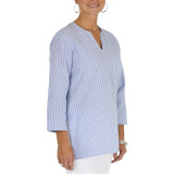 All cotton blue and white classic cotton seersucker tunic top