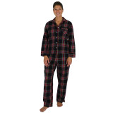 Woman wearing soft 100% cotton flannel 2-piece long sleeve pajamas