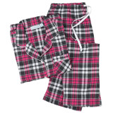 Women's 100% cotton plaid flannel long sleeve pajamas