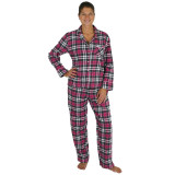 Woman wearing long sleeve, plaid flannel pajamas made of soft 100% cotton