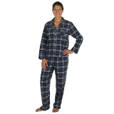 Woman in a long sleeve plaid flannel pajama set made of 100% soft cotton