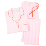 Women's crisp 100% cotton pink and white pajamas
