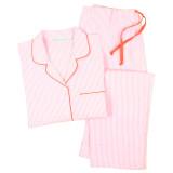 Women's crisp 100% cotton pink and white pajamas
