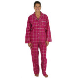 Women's classic long sleeve, button-front 2-piece 100% cotton pajama set for women