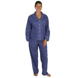 Woman wearing soft and lightweight, traditional 2-piece, long sleeve, cotton pajama set