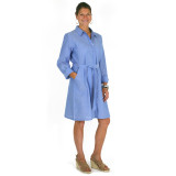 Blue chambray button down shirtdress