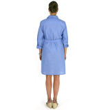 Women's chambray button-front belted shirtdress