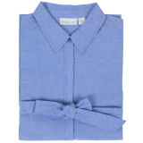 Women's cotton chambray button-front shirt dress