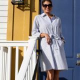 Belted cotton striped shirtdress