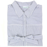 Blue and white striped cotton shirtdress