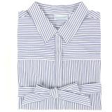 Blue and white striped cotton shirtdress