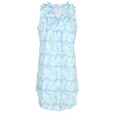 Women's printed, woven cotton sleeveless nightgown