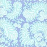 Sonya Blue fabric swatch of printed, woven cotton poplin