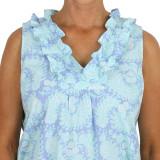 Women's sleeveless night dress in printed cotton poplin