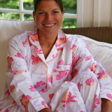 Women's cotton long sleeve pajamas made from printed soft cotton poplin