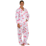 Women's long sleeve pajamas made from printed soft cotton poplin