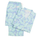 Women's boyfriend-style long sleeve, printed cotton poplin pajamas.