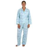 Women's long sleeve, soft, printed cotton poplin pajamas.