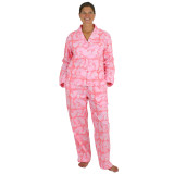 Women's cotton boyfriend-style long sleeve top and pants pajama 2-piece set