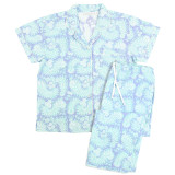 Women's 100% soft cotton short sleeve blue pajamas