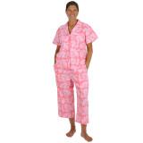 Women's short sleeve woven cotton pajamas
