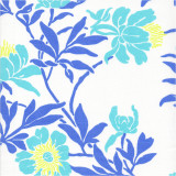 Fabric swatch  of Livia Aqua printed cotton poplin
