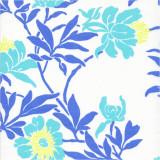 Fabric swatch  of Livia Aqua printed cotton poplin