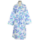 Women's printed 100% soft cotton wrap blue bathrobe with shawl collar