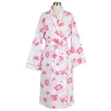 Women's printed  100% soft cotton pink wrap robe with shawl collar
