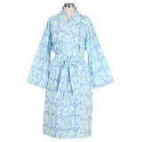 Women's printed 100% cotton blue wrap bathrobe with shawl collar