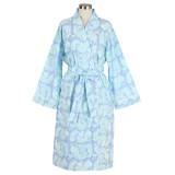 Women's printed 100% cotton blue wrap bathrobe with shawl collar