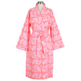 Women's 100% cotton wrap pink robe