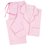 Women's pink & white all-cotton seersucker classic long sleeve boyfriend style  pajamas with pink piping on top and pink drawstring on pants