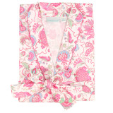 Women's cotton poplin shawl collar robe with side-seam pockets.