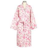 Women's 100% cotton poplin shawl collar, wrap robe with side-seam pockets.