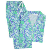 Women's 100% cotton voile classic long sleeve pajamas. Blue & green floral design.