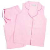 Women's all cotton sleeveless capri pajamas in pink and white seersucker .