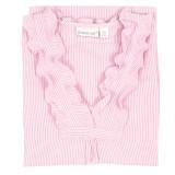 Pink & White 100% cotton seersucker sleeveless nightgown with ruffled neck
