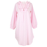Women's long sleeve pink and white 100% cotton seersucker nightgown with ruffled collar