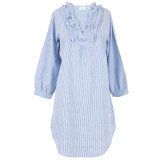 Women's blue and white cotton seersucker long sleeve nightshirt with ruffled collar