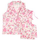 Cotton poplin sleeveless top with capri pajama pants