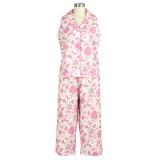 Womens cotton poplin pajama set with sleeveless top and capri pants.
