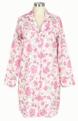 Women's long sleeve, button down, cotton poplin nightshirt with side-seam pockets.