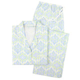 Women's cotton poplin, classic boyfriend-style long sleeve pajama set with blue and green print.