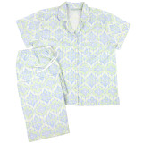 Women's cotton poplin button-down short sleeve pajama with capri pants.  Blue and green design.