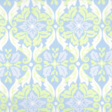 Swatch of Carmen print in blue green colors