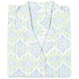 Women's cotton poplin button-down night shirt with side-seam pockets.