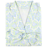 Women's cotton poplin wrap robe with shawl collar and side-seam pockets. Blue & green design.