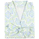 Women's cotton poplin wrap robe with shawl collar and side-seam pockets. Blue & green design.